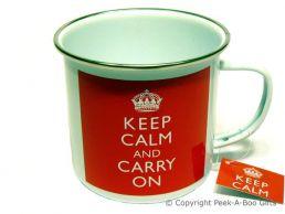 Keep Calm & Carry On Tin & Enamel Mug by Leonardo