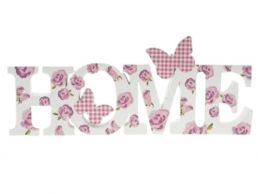 Rose Bouquet Home Word Sign Plaque with Butterfly by Leonardo