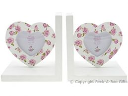 Rose Bouquet Wooden Love Heart Photo Frame Bookends by Leonardo