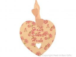 Rose Bouquet Home Sweet Home Wooden Heart Shaped Plaque by Leonardo