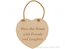 Home Sweet Home Heart Shaped Wooden Plaque Bless This House