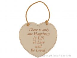 Home Sweet Home Heart Shaped Wooden Plaque There's Only One Happiness in Life