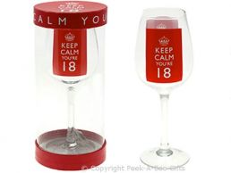 Keep Calm (& Carry On) You're 18 Large 18th Birthday Wine Gift Glass by Leonardo