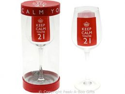 Keep Calm (& Carry On) You're 21 Large 21st Birthday Wine Gift Glass by Leonardo