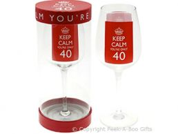 Keep Calm (& Carry On) You're 40 Large Wine Gift Glass by Leonardo