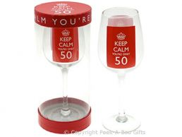 Keep Calm (& Carry On) You're 50 Large 50th Birthday Wine Gift Glass by Leonardo