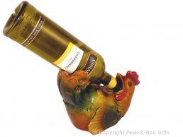 Novelty Resin Laying Cockerel Boozer Wine-Spirit Bottle Holder