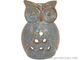 Ceramic Owl Shaped Fragrance Oil Burner Blue Stoneware