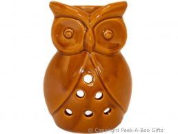 Ceramic Owl Shaped Fragrance Oil Burner Brown Stoneware