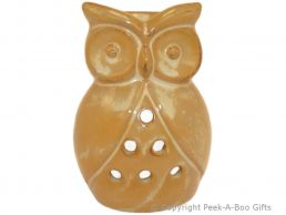 Ceramic Owl Shaped Fragrance Oil Burner Light Brown Stoneware