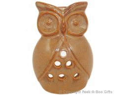 Ceramic Owl Shaped Fragrance Oil Burner Speckled Fawn Stoneware