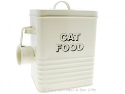 Home Sweet Home Cream Tin Cat Food Container with Scoop