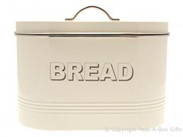 Home Sweet Home Cream Tin Collection Oval Bread Bin