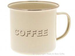 Home Sweet Home Cream Collection Tin Coffee Enamel Mug