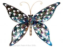 Metal Iridescent Blue Butterfly Wall Art Plaque