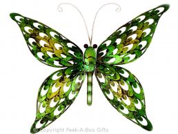 Metal Iridescent Green Butterfly Wall Art Plaque