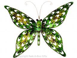 Metal Iridescent Green Butterfly Wall Art Plaque