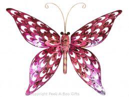 Metal Iridescent Pink Butterfly Wall Art Plaque
