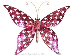 Metal Iridescent Pink Butterfly Wall Art Plaque