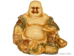 Happy Buddha Sitting Small Figurine Cream with Coloured Accents & Golden Lamps