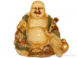 Happy Buddha Sitting Small Figurine Cream with Coloured Accents & Bags of Gold