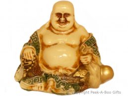 Happy Buddha Sitting Small Figurine Cream with Coloured Accents & Golden Beads