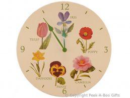 Leonardo Flower Garden Collection Wooden Round Wall Clock
