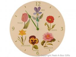 Leonardo Flower Garden Collection Wooden Round Wall Clock