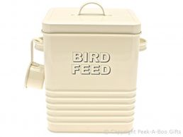 Home Sweet Home Cream Tin Bird Food Container with Scoop