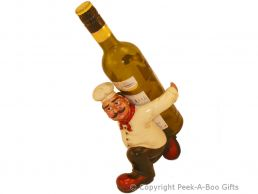 Novelty Resin Carrying Chef Wine-Spirit Bottle Holder by Leonardo