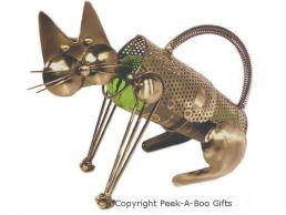 Metal Novelty Sitting Cat Shaped Wine Bottle Holder by Leonardo
