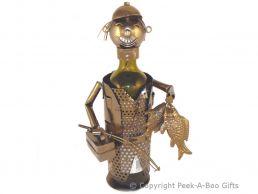 Metal Novelty Angler-Fisherman & Tackle Box Wine-Spirit Bottle Holder
