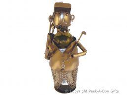 Metal Novelty Golfer with Cap & Tash Wine or Spirit Bottle Holder