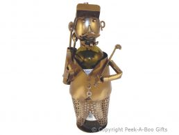 Metal Novelty Golfer with Cap & Tash Wine or Spirit Bottle Holder