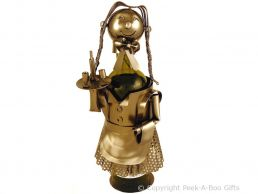 Metal Novelty Waitress Wine or Spirit Bottle Holder by Leonardo