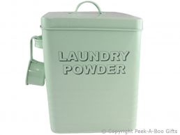Home Sweet Home Pale Aqua Blue-Green Tin Laundry Powder Box & Scoop