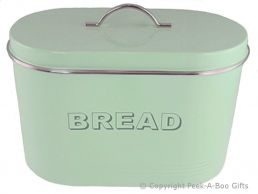 Home Sweet Home Pale Aqua Blue-Green Tin Collection Bread Bin