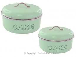Home Sweet Home Pale Aqua Blue-Green Tin Collection Twin Cake Tins
