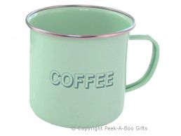 Home Sweet Home Pale Aqua Blue-Green Tin & Enamel Coffee Mug