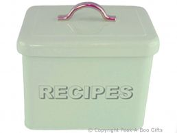 Home Sweet Home Pale Aqua Blue-Green Tin Collection Recipe Box with Index Cards