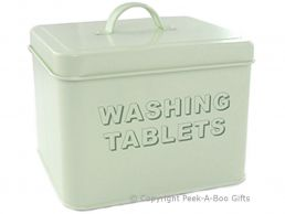Home Sweet Home Pale Aqua Blue-Green Tin Collection Laundry Washing Tablet Box