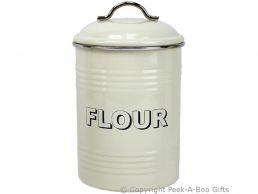 Home Sweet Home Cream Collection Tin Flour Canister