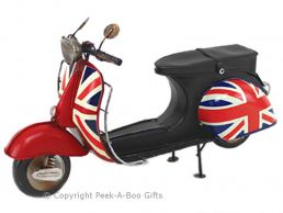 Nostalgic Union Jack Tin Scooter Vespa 1960's Style Metal Model by Leonardo