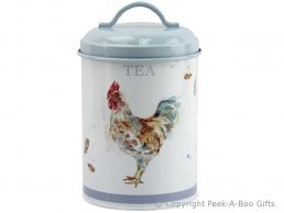 Leonardo Country Cockerel Tin Tea Canister by Jennifer Rose