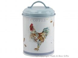 Leonardo Country Cockerel Tin Coffee Canister by Jennifer Rose