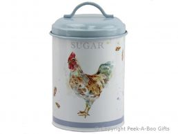 Leonardo Country Cockerel Tin Sugar Canister by Jennifer Rose