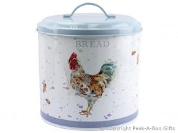 Leonardo Country Cockerel Round Tin Bread Bin by Jennifer Rose