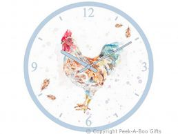 Leonardo Country Cockerel Collection Round Glass Wall Clock by Jennifer Rose