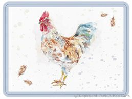 Leonardo Country Cockerel Collection Glass Cutting Board by Jennifer Rose