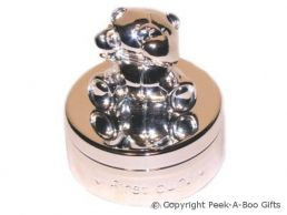 Forever Friends Baby My 1st Curl Round Trinket Box Silver Plated
